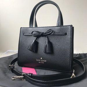 Kate Spade ♠️ Hayes Mini Satchel Black Leather Bag